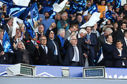 Everton Owner Farhad Moshiri and Chairman Bill Kenwright wave the flag for Everton during the Premier League match between Everton and Watford at Goodison Park, Liverpool, England on 17 August 2019.