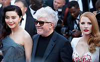 Fan Bingbing, Pedro Almodovar, Jessica Chastain arriving to the Closing Ceremony and awards at the 70th Cannes Film Festival Sunday 28th May 2017, Cannes, France. Photo credit: Doreen Kennedy