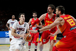 10.09.2014, Palacio de los deportes, Madrid, ESP, FIBA WM, Frankreich vs Spanien, Viertelfinale, im Bild Spain&acute;s Ricky Rubio, Pau Gasol and Marc Gasol and France&acute;s Heurtel // during FIBA Basketball World Cup Spain 2014 Quarter-Final match between France and Spain at the Palacio de los deportes in Madrid, Spain on 2014/09/10. EXPA Pictures &copy; 2014, PhotoCredit: EXPA/ Alterphotos/ Victor Blanco<br /> <br /> *****ATTENTION - OUT of ESP, SUI*****