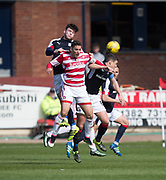Dundee&rsquo;s Daniel Higgins oujumps Hamilton&rsquo;s Alexandre D'Acol - Dundee v Hamilton Academical in the Ladbrokes Scottish Premiership at Dens Park, Dundee, Photo: David Young<br /> <br />  - &copy; David Young - www.davidyoungphoto.co.uk - email: davidyoungphoto@gmail.com