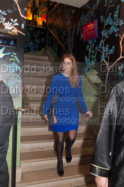 PRINCESS BEATRICE, Chinese New Year dinner given by Sir David Tang. China Tang. Park Lane. London. 4 February 2013.