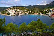 Asos bay and village on the west coast of the island of Cephalonia, Greece.