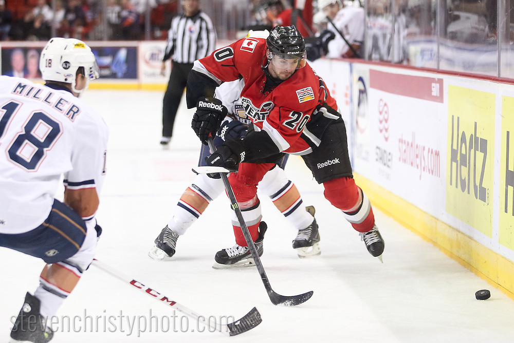 October 18, 2013: The Oklahoma City Barons play the Abbotsford Heat in an American Hockey League game at the Cox Convention Center in Oklahoma City.