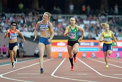 17/07/2017 : Orla Comerford (IRL), Tomomi Sato (JPN), Leila Adzhametova (UKR), Nathalie Nilsson (SWE), T13, Women's 100m, at the 2017 World Para Athletics Championships, Olympic Stadium, London, United Kingdom