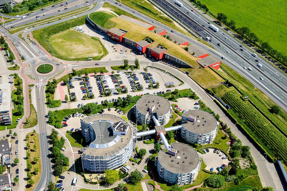 Nederland, Gelderland, Ede, 09-06-2016; CineMec, bioscoop, theater en congreslocatie, onderdeel van de geluidswal van de A12, nabij afslag Wageningen.<br /> Cinemec, cinema, theater and conference facility, part of the noise barrier of motorway A12.<br /> <br /> luchtfoto (toeslag op standard tarieven);<br /> aerial photo (additional fee required);<br /> copyright foto/photo Siebe Swart