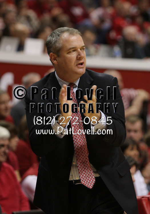 November 11, 2011 -  Stony Brook Seawolves head coach Steve Pikiell cheers on his team from the sidelines during an NCAA basketball game between Indiana University and Stony Brook at Assembly Hall in Bloomington, Indiana.