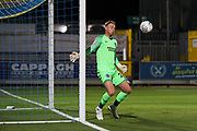 Brighton and Hove Albion goalkeeper Jason Steele (23) watches as ball bounces off the post during the EFL Trophy (Leasing.com) match between AFC Wimbledon and U23 Brighton and Hove Albion at the Cherry Red Records Stadium, Kingston, England on 3 September 2019.