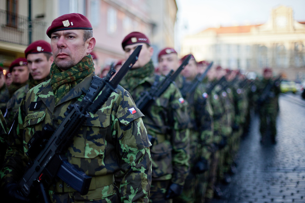 About 10000 Czech citizens accompanied the body of Vaclav Havel from the Old Town part in Prague across Charles Bridge   up to Prague Castle, the seat of Czech presidents. Soldiers waiting to attend the mourning procession for former President Vaclav Havel at the Prague Castle.