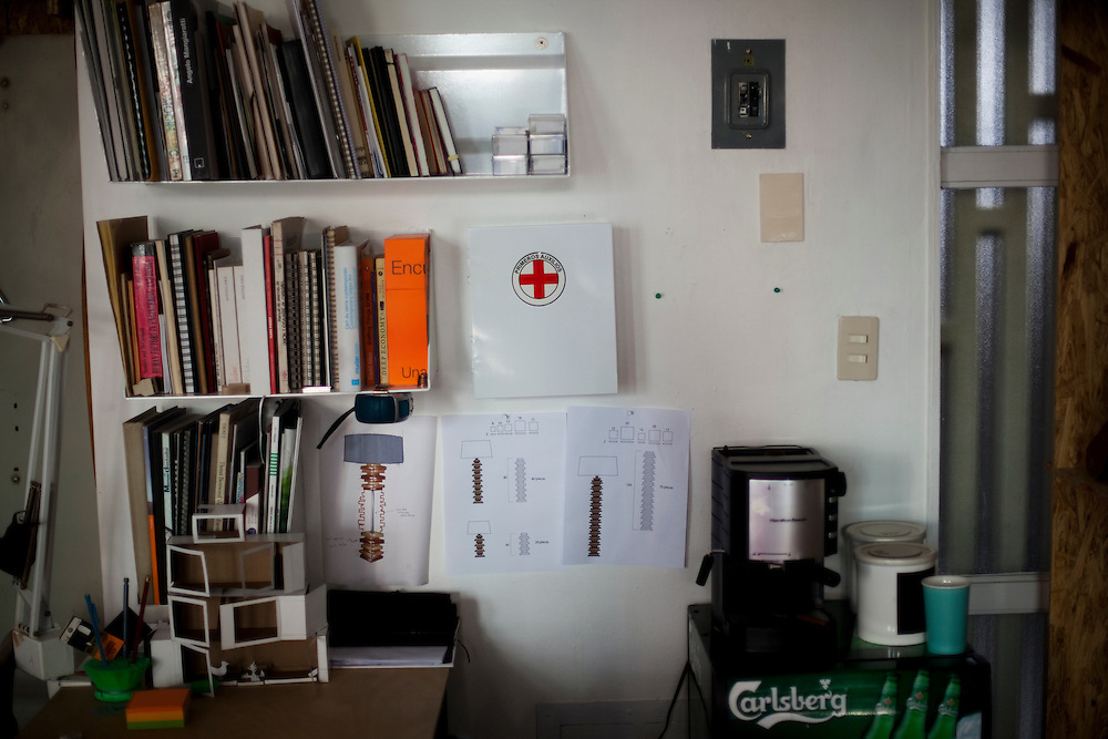 A first aid kit hangs on the wall in the office of Emiliano Godoy in Mexico City.