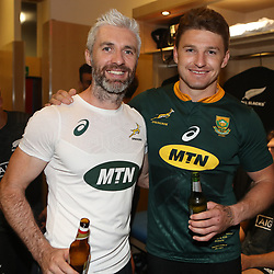 PRETORIA, SOUTH AFRICA - OCTOBER 06: Aled Walters of South Africa with Beauden Barrett of the New Zealand (All Blacks) during the Rugby Championship match between South Africa Springboks and New Zealand All Blacks at Loftus Versfeld Stadium. on October 6, 2018 in Pretoria, South Africa. (Photo by Steve Haag/Getty Images)