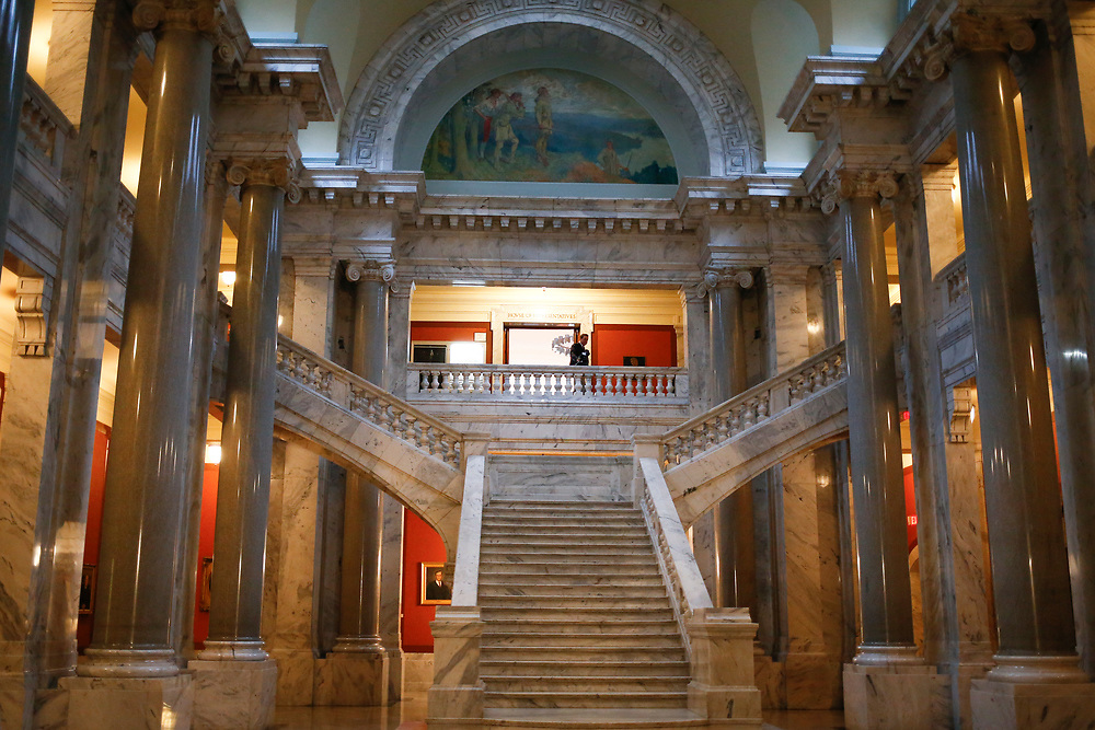 A view of the stairs leading to the House of Representatives during the General Assembly in the State Capitol in Frankfort, Ky., Monday, January 8, 2018.