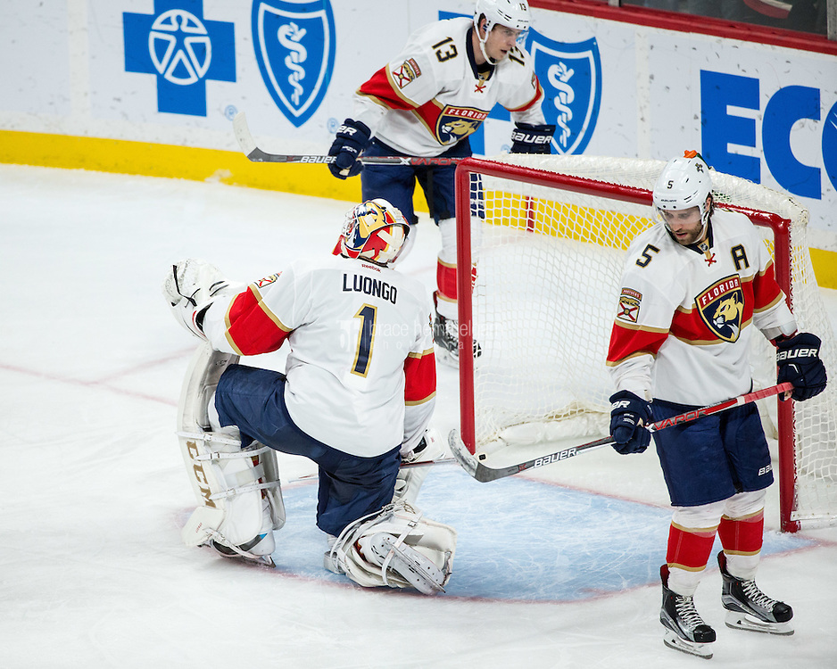 Dec 13, 2016; Saint Paul, MN, USA; Florida Panthers goalie Roberto Luongo (1) reacts to allowing a goal during the third period against the Minnesota Wild at Xcel Energy Center. The Wild defeated the Panthers 5-1. Mandatory Credit: Brace Hemmelgarn-USA TODAY Sports