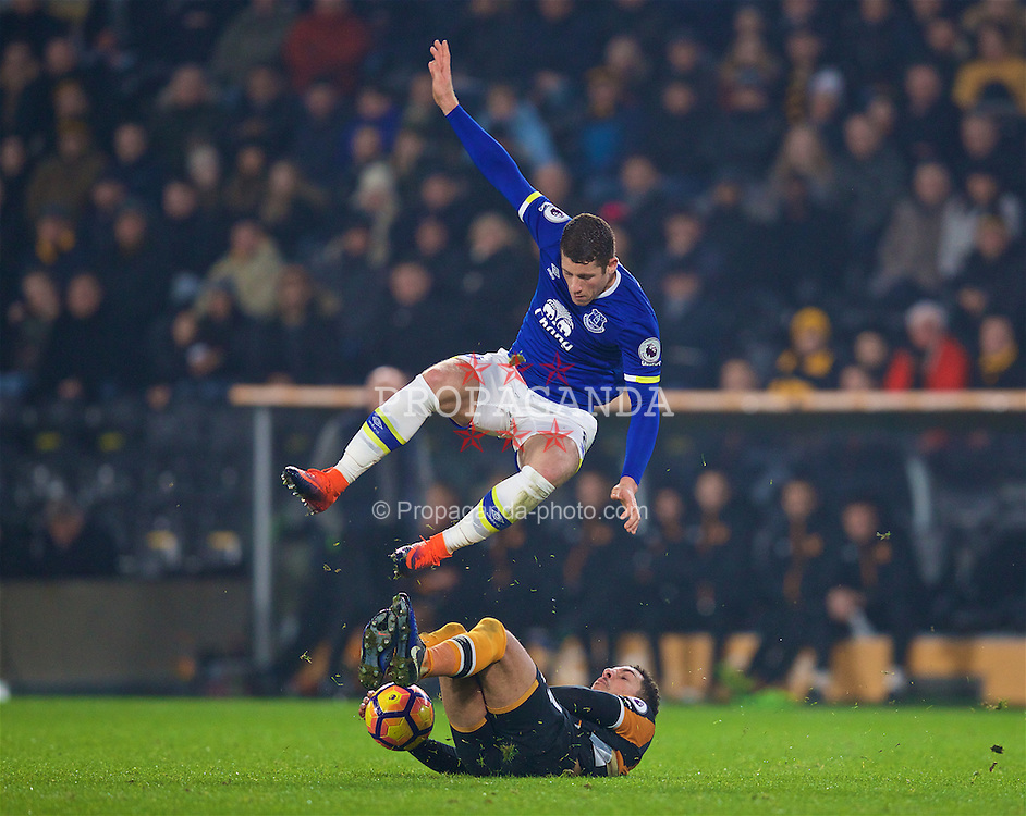 KINGSTON-UPON-HULL, ENGLAND - Friday, December 30, 2016: Everton's Ross Barkley is tackled by Hull City's Jake Livermore during the FA Premier League match at the KCOM Stadium. (Pic by David Rawcliffe/Propaganda)