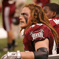 21 December 2008: Troy linebacker Bear Woods (48) on the bench during a 30-27 overtime victory by the Southern Mississippi Golden Eagles over the Troy Trojans in the  R+L Carriers New Orleans Bowl at the New Orleans Superdome in New Orleans, LA.