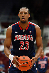 February 3, 2011; Stanford, CA, USA;  Arizona Wildcats forward Derrick Williams (23) before a free throw against the Stanford Cardinal during the first half at Maples Pavilion.  Arizona defeated Stanford 78-69.