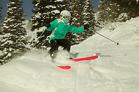 Jessica Laman (age 9) skiing at Jackson Hole, Wyoming in fresh powder.