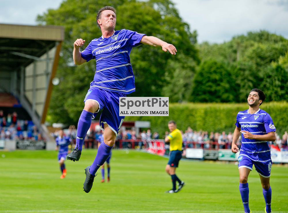 Brechin City v Dunfermline Athletic SPFL League One Season 2015/16 Glebe Park 08 August 2015<br /> Joe Cardle celebrates making it 2-0<br /> CRAIG BROWN | sportPix.org.uk