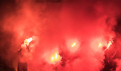 30.07.2016, Alois Latini Stadion, Zell am See, AUT, Testspiel, Bayer 04 Leverkusen vs SC Teutonia Watzenborn Steinberg, im Bild Fans mit bengalischen Fackeln // Fans with Flares during a Friendly Football Match between Bayer 04 Leverkusen vs SC Teutonia Watzenborn Steinberg at the Alois Latini Stadium, Zell am See, Austria on 2016/07/30. EXPA Pictures © 2016, PhotoCredit: EXPA/ JFK