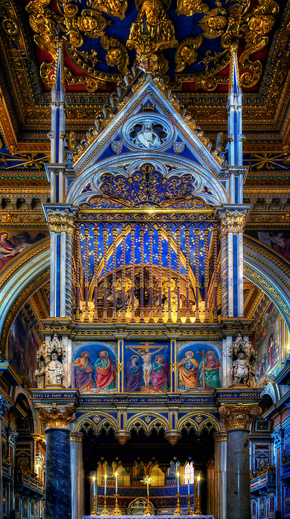 """""""The high altar and the Gothic ciborium of the Archilbasilica of San Giovanni in Laterano""""...<br /> <br /> Dedicated to St. John the Baptist and St. John the Evangelist, the Basilica of St. John Lateran is the first among the four major basilicas of Rome. It is also the Cathedral of the Bishop of Rome, the Pope, and is thus known as the """"Cathedral of Rome and of the World."""" Built by Constantine the Great in the 4th century, San Giovanni in Laterano was the first Christian/Catholic church erected in Rome. The present structure of the Basilica resembles Saint Peter's Basilica, and the ancient church was residence of the Papacy until the (1377) return from exile in Avignon and permanent relocation to the Vatican. Many Popes were responsible for repair and additions to the Basilica's overall splendor and importance throughout the last 1700 years."""