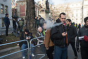 VAPING MAN, Outside the Supreme court of the United Kingdom, Parliament Sq. London. 5 December 2016.<br /> Beginning of four days of hearings on Brexit - and who has the power to trigger it. 11 justices listen to arguments on whether government or Parliament has that power.