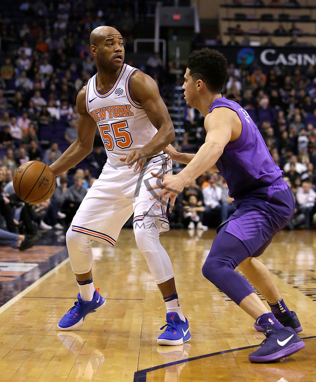 New York Knicks guard Jarrett Jack (55) in the first half during an NBA basketball game against the Phoenix Suns, Friday, Jan. 26, 2018, in Phoenix. (AP Photo/Rick Scuteri)