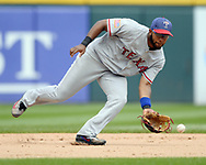CHICAGO - JULY 01:  Elvis Andrus #1 of the Texas Rangers fields against the Chicago White Sox on July 1, 2017 at Guaranteed Rate Field in Chicago, Illinois.  The Rangers defeated the White Sox 10-4.  (Photo by Ron Vesely) Subject:   Elvis Andrus