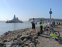 © Licensed to London News Pictures. 02/09/2014. Cardiff, UK. NATO warship HMS Duncan, arrives in Cardiff Bay ahead of the Summit this Thursday - it is one of several vessels which is expected in the famous docks. Photo credit : Ian Homer/LNP