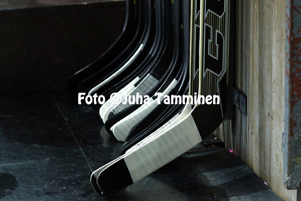 18.12.2015, Hakamets&auml;n halli, Tampere.<br /> J&auml;&auml;kiekon SM-liiga 2015-16. Ilves - HIFK.<br /> Mailat ojennuksessa Ilveksen aitiossa ennen ottelua.