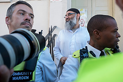 Anjem Choudary outside a bail hostel in north London after his release from Belmarsh Prison.