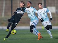 FODBOLD: Lucas Petersen (AB) og Douglas Ferreira (FC Helsingør) under træningskampen mellem FC Helsingør og AB den 19. januar 2019 på Snekkersten Idrætscenter. Foto: Claus Birch