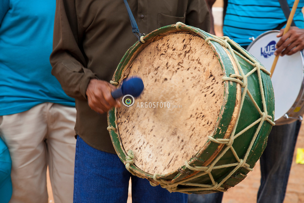 Festa de Santo Antonio no distrito de Agua Branca, em Serra Talhada-PE. Zabumba, tocada na procissao / Feast of St. Anthony in the district of Agua Branca, Sierra Talhada, In Pernambuco, Brazil. Zabumba is a type of bass drum used in Brazilian music. The player wears the drum while standing up and uses both hands while playing.