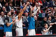 Esultanza panchina Real Madrid, Ax Armani Exchange Olimpia Milano vs Real Madrid, EuroLeague 2017/2018, Milano 13 marzo 2018 Mediolanum Forum FOTO: Bertani/Ciamillo