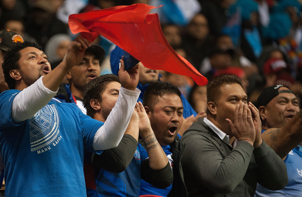 Samoa Fans during the pool stages of the Canada Sevens,  Round Six of the World Rugby HSBC Sevens Series in Vancouver, British Columbia, Saturday March 11, 2017. <br /> <br /> Jack Megaw.<br /> <br /> www.jackmegaw.com<br /> <br /> jack@jackmegaw.com<br /> @jackmegawphoto<br /> [US] +1 610.764.3094<br /> [UK] +44 07481 764811