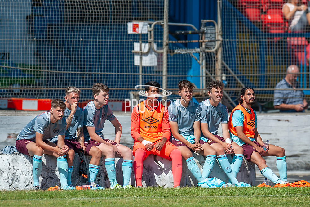 Hearts substitutes during the Pre-Season Friendly match between Partick Thistle and Heart of Midlothian at Central Park Stadium, Cowdenbeathl, Scotland on 8 July 2018. Picture by Malcolm Mackenzie.