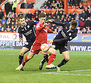 Dundee's Kevin Thomson and Iain Davidson close down Aberdeen's Cammy Smith-  Aberdeen v Dundee, SPFL Premiership at Pittodrie<br />