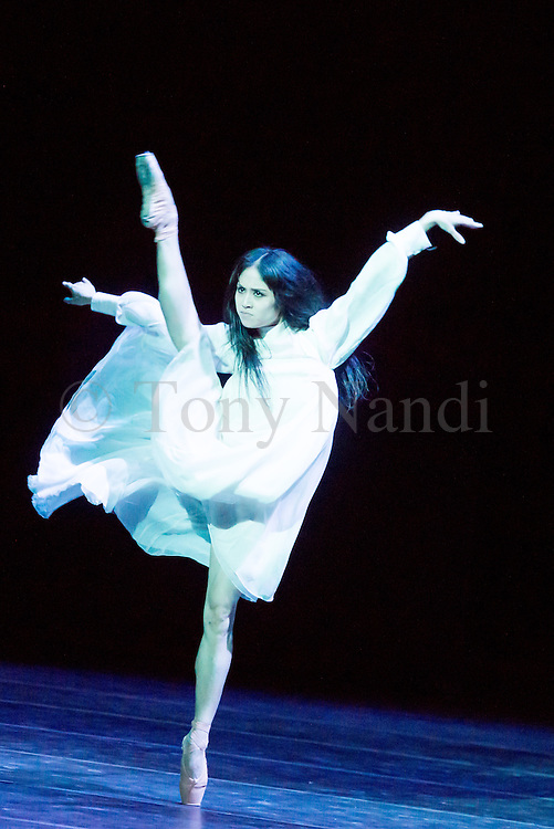 14/08/2013. Shanghai Ballet Company make their highly anticipated UK debut with performances of Jane Eyre, an original, innovative ballet production choreographed by Patrick de Bana. Picture shows Li Chenchen (Helen Burns).