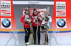 29.12.2011, DKB-Ski-ARENA, Oberhof, GER, Viessmann FIS Tour de Ski 2011, Prolog, Freie Technik/ Freistil Damen im Bild Siegerehrung - Marit Bjoergen (NOR) auf Platz 2, Justyna Kowalczyk (POL) auf Platz 1 und Hanna Brodin (SWE) auf Platz 3 . // during of Viessmann FIS Tour de Ski 2011, in Oberhof, GERMANY, 2011/12/29 .. EXPA Pictures © 2011, PhotoCredit: EXPA/ nph/ Hessland..***** ATTENTION - OUT OF GER, CRO *****