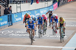 Zdenek Štybar (CZE) of Deceuninck - Quick Step (BEL,WT,Specialized) and Mike Teunissen (NED) of Team Jumbo-Visma (NED,WT,Bianchi) during the 2019 Paris-Roubaix (1.UWT) with 257 km racing from Compiègne to Roubaix, France. 14th April 2019. Picture: Thomas van Bracht | Peloton Photos<br /> <br /> All photos usage must carry mandatory copyright credit (Peloton Photos | Thomas van Bracht)