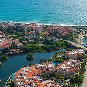 Aerial view of Puerto Aventuras. Quintana Roo, Mexico.