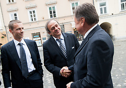 Aleksander Ceferin, president of NZS, Michel François Platini, president of Union of European Football Associations (UEFA) and Zoran Jankovic, Mayor of Ljubljana at visit of M. Platini in Slovenia prior to the UEFA European Under-17 Championship Final match between Germany and Netherlands on May 16, 2012 in City Hall, Ljubljana, Slovenia. (Photo by Vid Ponikvar / Sportida.com)