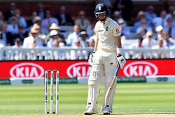 England's Ollie Pope is given out lbw during day three of the Specsavers Second Test match at Lord's, London.
