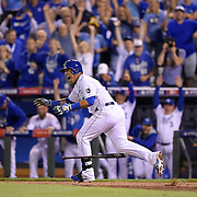 Kansas City Royals catcher Salvador Perez reacts after hitting the game-winning run in the 12th inning during the American League Wild Card playoff baseball game on September 1, 2014 at Kauffman Stadium in Kansas City, MO. The Royals beat the A's 9-8 to move on to the ALDS.