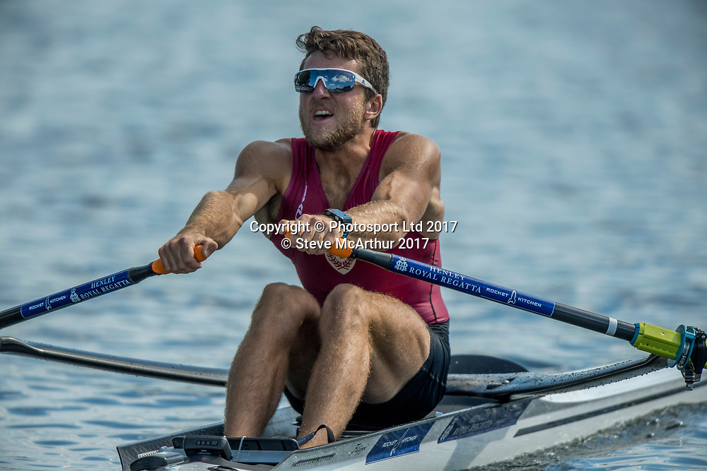 Diamond Sculls champion at HRR2017 Matthew Dunham (Cambridge RC) NZ Mens Lightweight Single Scull at  Henley on Thames, United Kingdom. Sunday 2nd July 2017. © Copyright Steve McArthur / www.photosport.nz