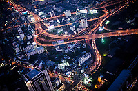 HIghways at dusk in Bangkok, Thailand.
