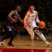 17 January 2018: San Diego State Aztecs guard Trey Kell (3) drives the ball into the paint against a Fresno defender in the second half. San Diego State dropped a tough game to Fresno State 77-73 at Viejas Arena. <br /> More game action at www.sdsuaztecphotos.com