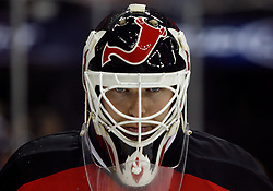 November 8, 2007; Newark, NJ, USA;   New Jersey Devils goalie Martin Brodeur (30) gets focused during the third period of the Devils game against the Philadelphia Flyers at the Prudential Center in Newark, NJ.  The Devils won the game by a 4-1 score.  The win was the 499th of Martin Brodeur's career.