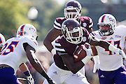 STARKVILLE, MS - SEPTEMBER 19:  De'Runnya Wilson #1 of the Mississippi State Bulldogs runs the ball against the Northwestern State Demons at Davis Wade Stadium on September 19, 2015 in Starkville, Mississippi.  The Bulldogs defeated the Demons 62-13.  (Photo by Wesley Hitt/Getty Images) *** Local Caption *** De'Runnya Wilson