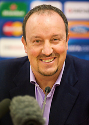 LIVERPOOL, ENGLAND - Tuesday, December 8, 2009: Liverpool's manager Rafael Benitez during a press conference at Anfield ahead of the UEFA Champions League Group E match against AFC Fiorentina. (Pic by David Rawcliffe/Propaganda)