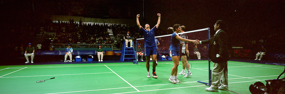 A Panoramic Image Showing The Badminton Tournament At Sydney Olympic Park As Simon Archer And Joanne