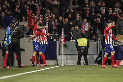 February 20, 2019 - Madrid, Spain - Jose Maria Gimenez (Atletico de Madrid)  celebrates his goal which made it (1,0)   UCL Champions League match between Atletico de Madrid vs Juventus at the Wanda Metropolitano stadium in Madrid, Spain, February 20, 2019  (Credit Image: © Enrique De La Fuente/NurPhoto via ZUMA Press)